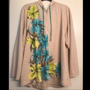 Susan Graver Weekend Floral Tan Hoodie 3x